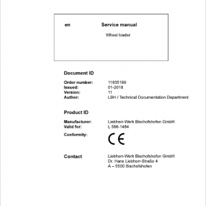Liebherr L566 Type 1484 Wheel Loader Service Manual
