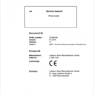 Liebherr L586 Type 1334 Wheel Loader Service Manual
