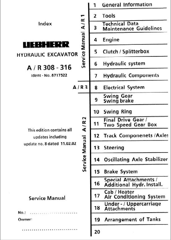 Liebherr A308, A310, A310B, A312, A316 Wheel Excavator Service Manual