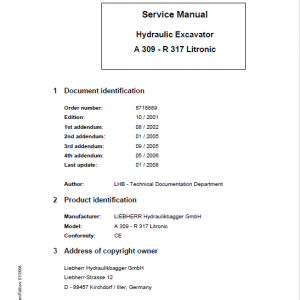 Liebherr A309, A311, A312, A314, A316, R313, R317 Litronic Excavator Manual