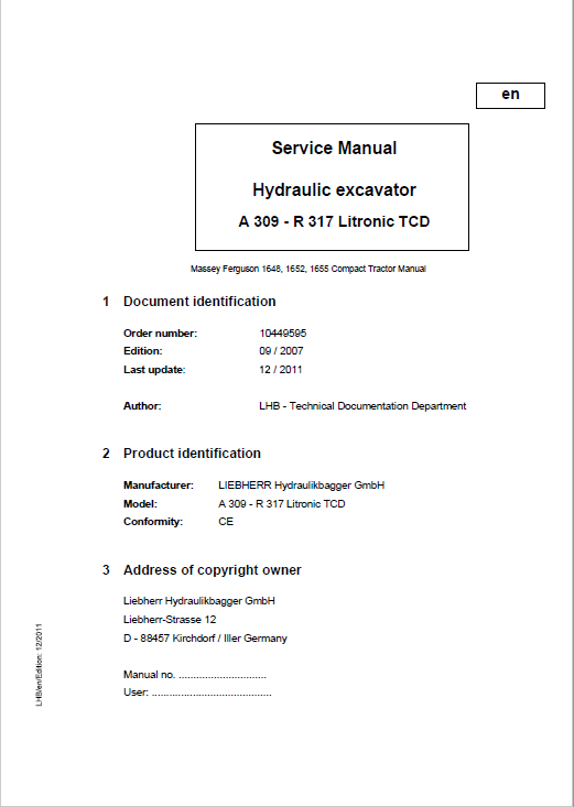 Liebherr A309, A311, A312, A314, A316, R313, R317 Litronic TCD Excavator Manual