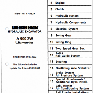 Liebherr A900 ZW and A900 Litronic Excavator Service Manual