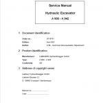 Liebherr A900, A902, A912, A922, A942 Hydraulic Excavator Service Manual