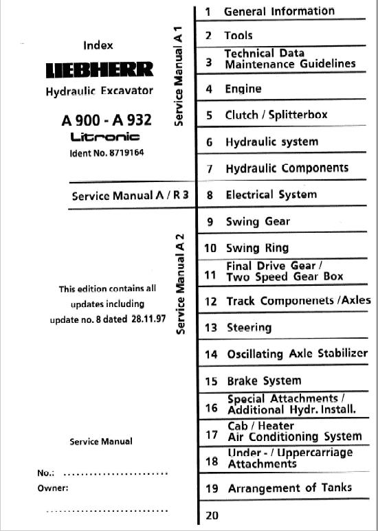 Liebherr A900, A902, A912, A922, A932 Litronic Excavator Service Manual