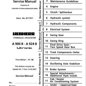 Liebherr A900B, A904, A914, A914B, A924, A924B Litronic Excavator Service Manual