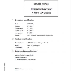 Liebherr A900C ZW Litronic Excavator Service Manual