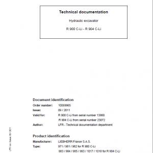 Liebherr R900C, R904C Litronic Excavator Service Manual