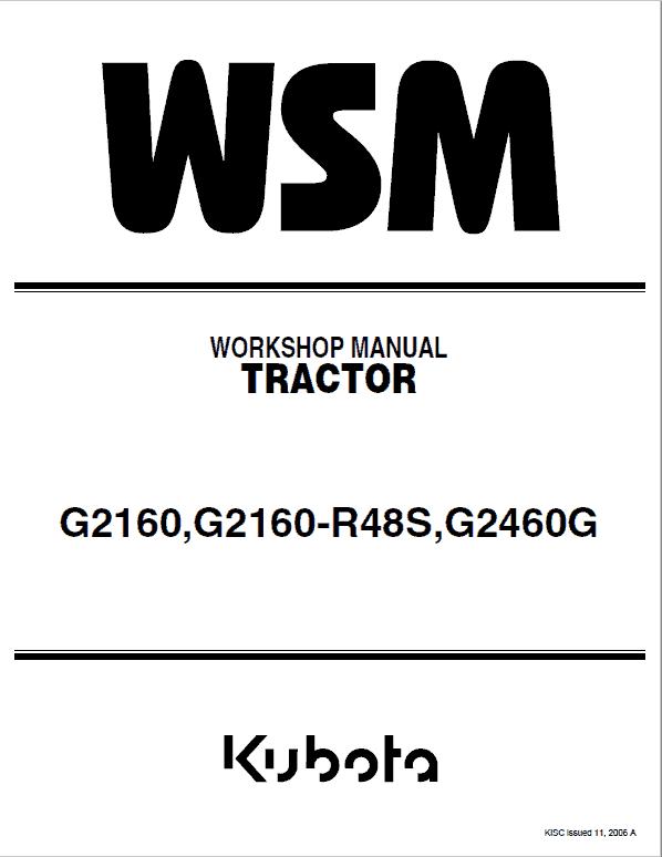 Kubota G2160, G2160-R48S, G2460G Mower Service Manual