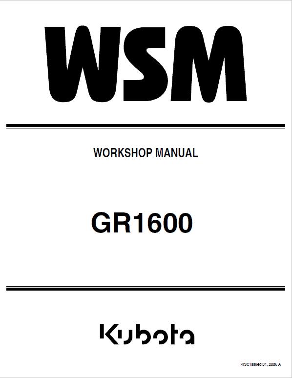 Kubota GR1600 Riding Mower Service Manual