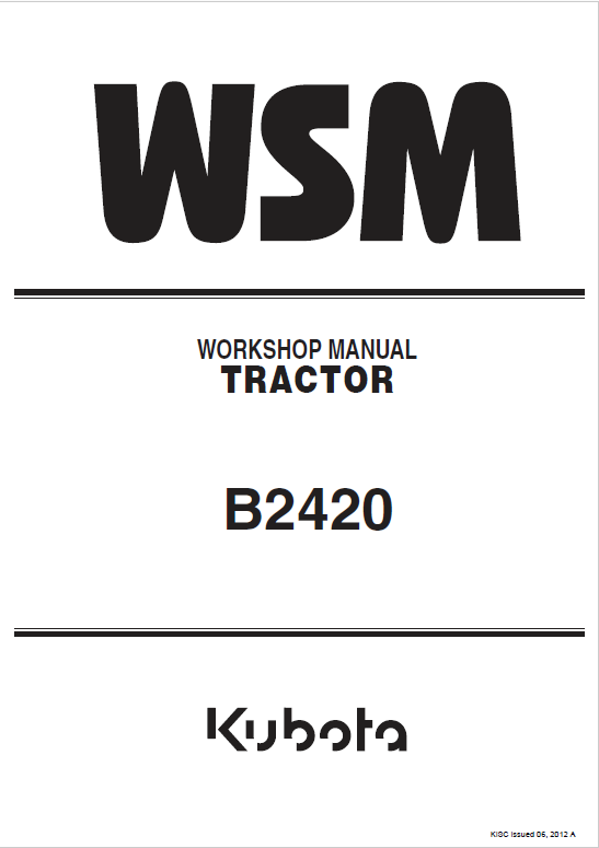 Kubota B2420 Tractor Service Manual