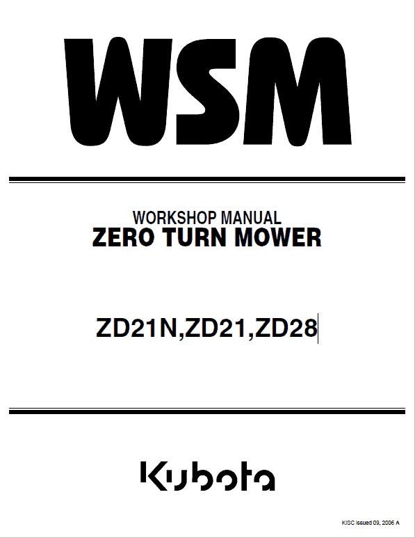 Kubota ZD21N, ZD21, ZD28 Zero Turn Mower Service Manual