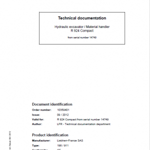 Liebherr R924 Compact Excavator Service Manual
