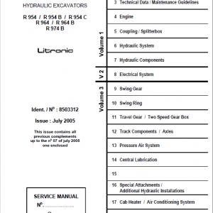 Liebherr R954, R954B, R954C, R964, R964B, R974B Litronic Excavator Service Manual
