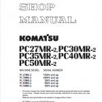 Komatsu PC27MR-2, PC30MR-2, PC35MR-2, PC40MR-2, PC50MR-2 Excavator Manual