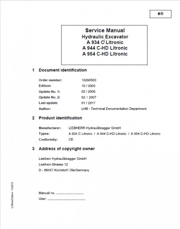 Liebherr A934C, A944C-HD, A954C-HD, R934C, R934C Litronic Service Manual