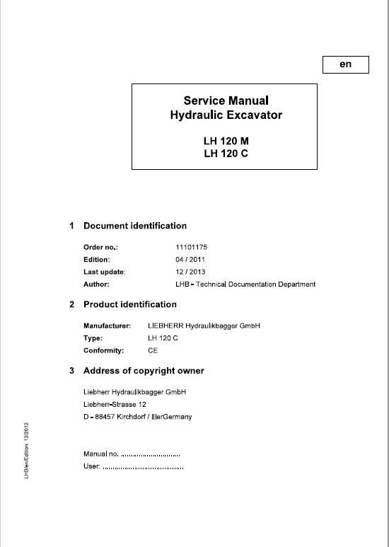 Liebherr LH120M, LH120C Hydraulic Excavator Service Manual