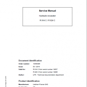 Liebherr R914C, R924C Litronic Excavator Service Manual
