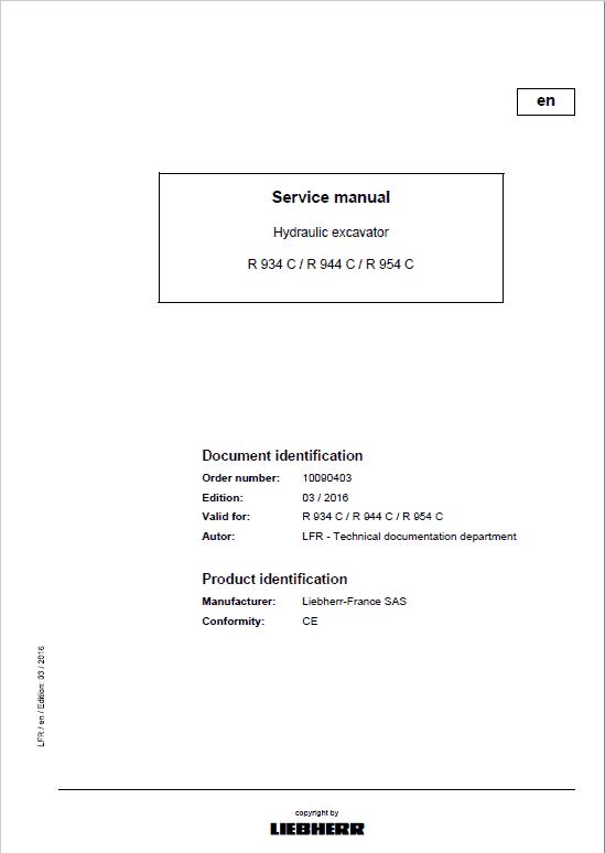Liebherr A934C, R934C, R944C, R954C Litronic Excavator Service Manual