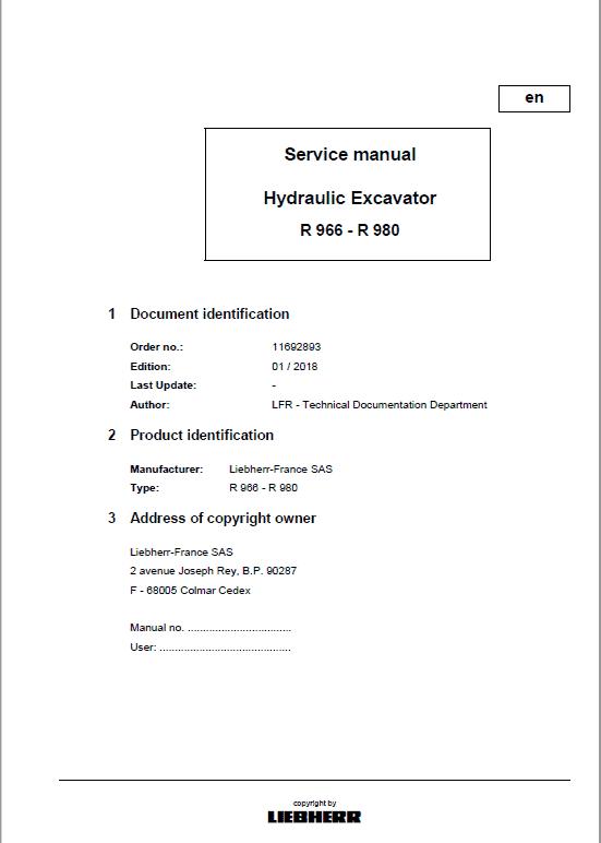 Liebherr R966, R970, R976, R980 Excavator Service Manual