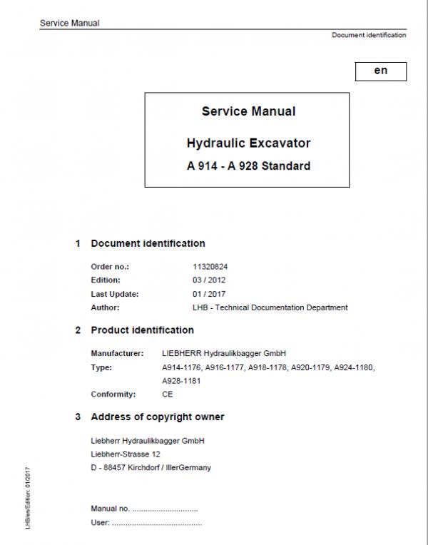 Liebherr A914, A916, A918, A920, A924, A928 Standard Excavator Service Manual