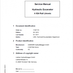 Liebherr A924 Rail Litronic Tier 4i Excavator Service Manual