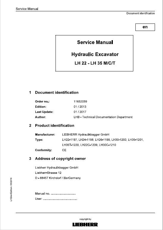 Liebherr LH22C, LH22M, LH24M, LH26M, LH30C, LH30M, LH35M, LH35T Tier 4i Excavator Manual
