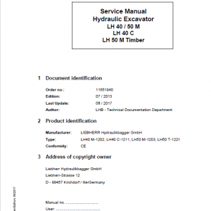 Liebherr LH40M, LH40C, LH50M Timber, LH50M Tier 4i Excavator Service Manual