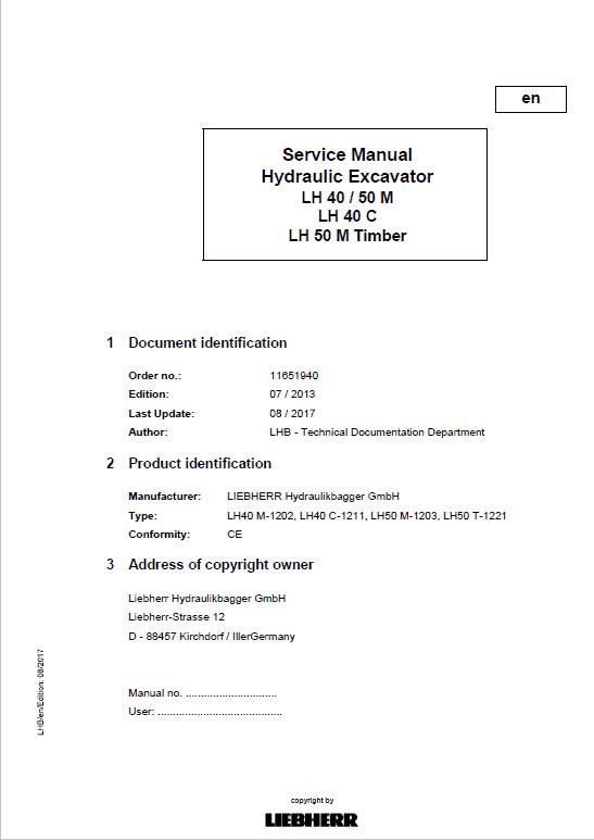 Liebherr LH40M, LH40C, LH50M Timber, LH50M Tier 4i Excavator Service Manual