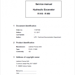 Liebherr R918, R920, R922, R924, R926, R936, R946, R950, R926 Compact Excavator Manual