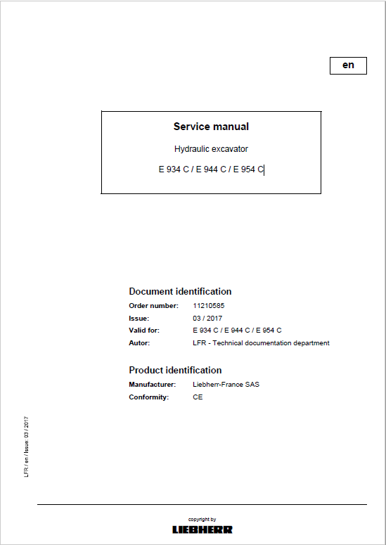 Liebherr ER934C, ER944C, ER954C, EP934C, ER944C, ER954C Excavator Service Manual