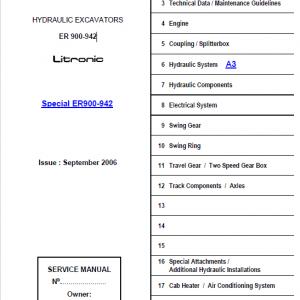 Liebherr ER900, ER902, ER912, ER922, ER932, ER942 Excavator Service Manual