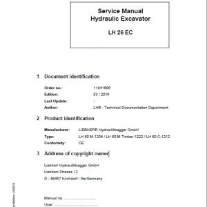 Liebherr LH26EC Hydraulic Excavator Service Manual