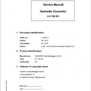 Liebherr LH120 ETG, LH150C, LH150 ETG Hydraulic Excavator Service Manual