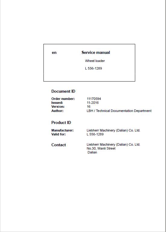 Liebherr L556 Type 1289 Wheel Loader Service Manual