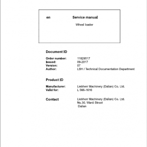 Liebherr L566 Type 1616 Wheel Loader Service Manual
