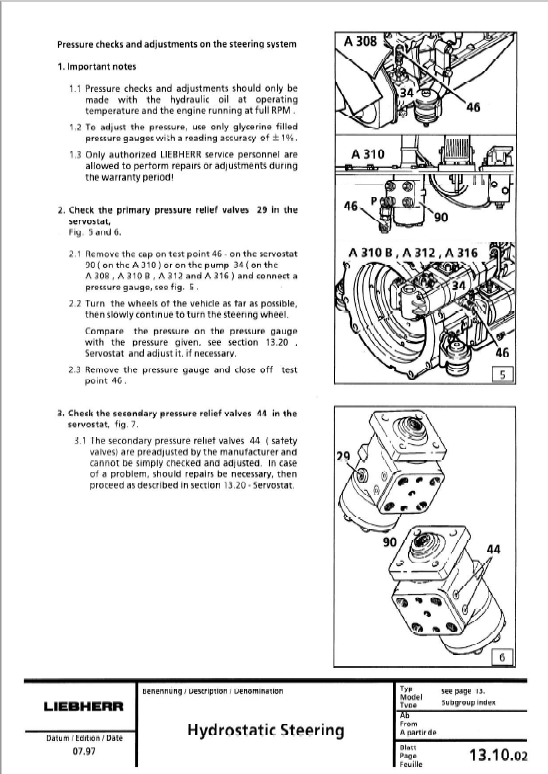 Liebherr A308 A310 A312 A316 R308 R310 R312 Excavator Service Manual