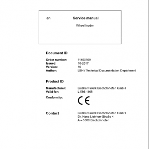 Liebherr L566 Type 1168 Wheel Loader Service Manual