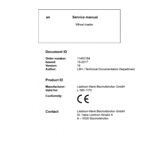 Liebherr L580 Type 1170 Wheel Loader Service Manual