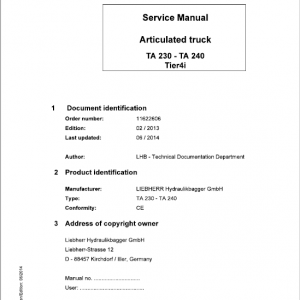 Liebherr TA 230, TA 240 Articulated Truck Service Manual