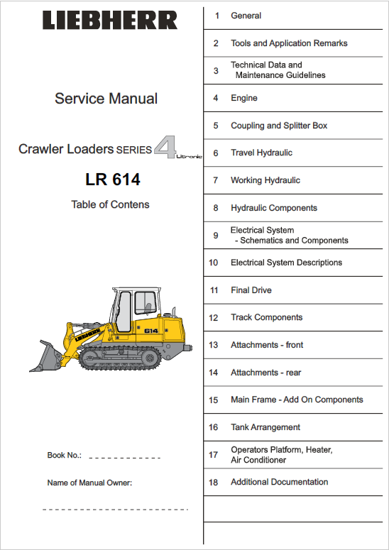 Liebherr LR 614 Crawler Dozer Repair Service Manual