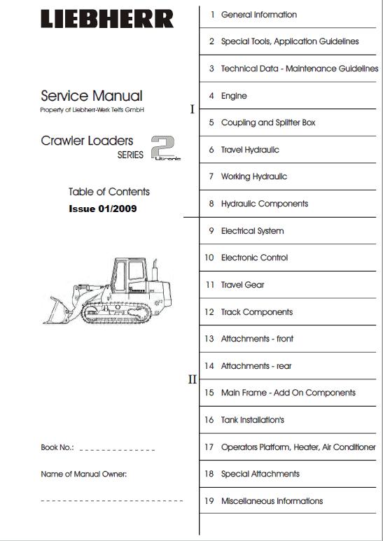Liebherr LR 622, LR 632 Crawler Dozer Repair Service Manual
