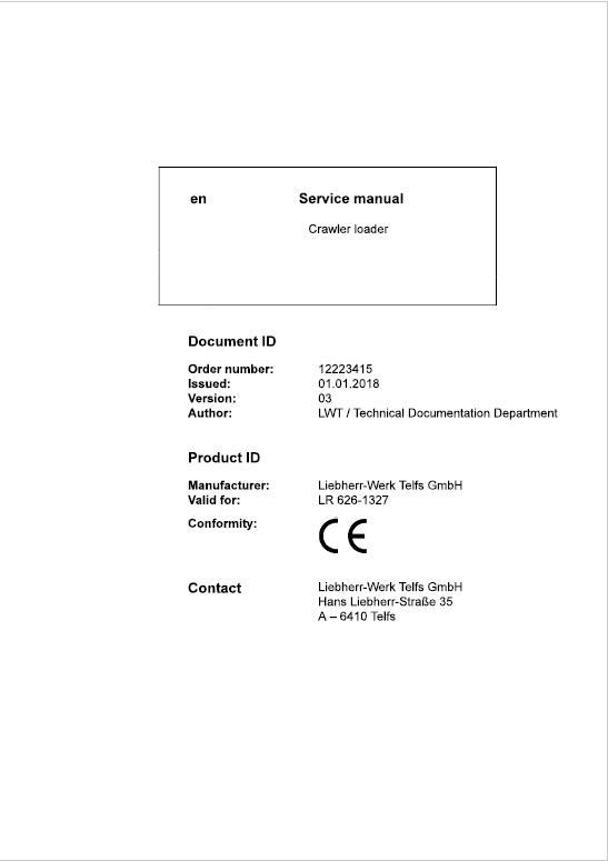Liebherr LR 626 Crawler Dozer Service Repair Service Manual