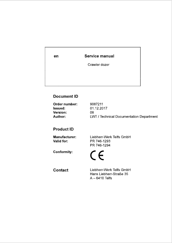 Liebherr PR 746 Crawler Dozer Repair Service Manual