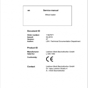 Liebherr L508 Type 1580 Wheel Loader Service Manual