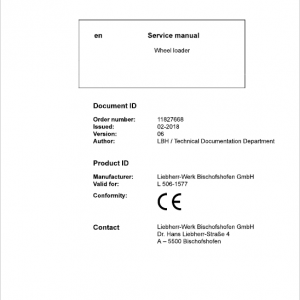Liebherr L506 Type 1577 Wheel Loader Service Manual
