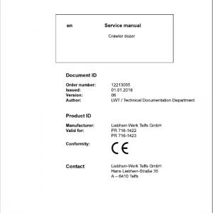 Liebherr PR 716 Crawler Dozer Repair Service ManualLiebherr PR 716 Crawler Dozer Repair Service Manual