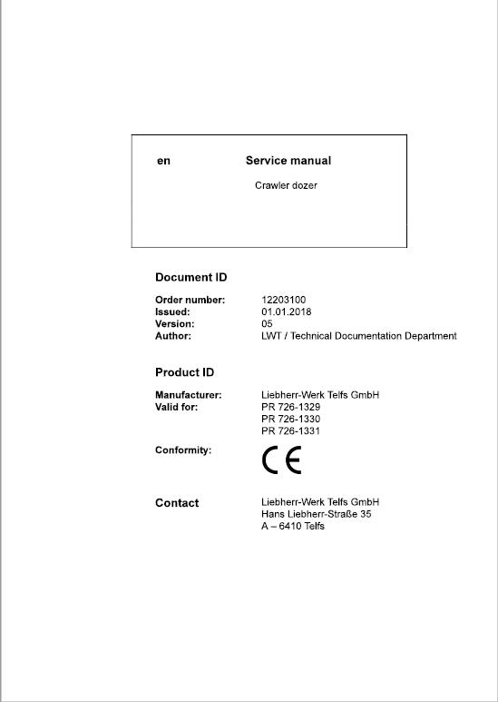 Liebherr PR 726 Crawler Dozer Repair Service Manual