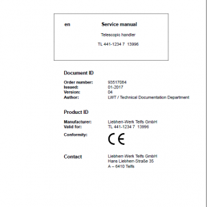 Liebherr TL441 Type 1234 Telescopic Handler Service Manual