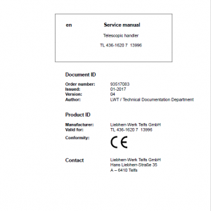 Liebherr TL436 Type 1620 Telescopic Handler Service Manual