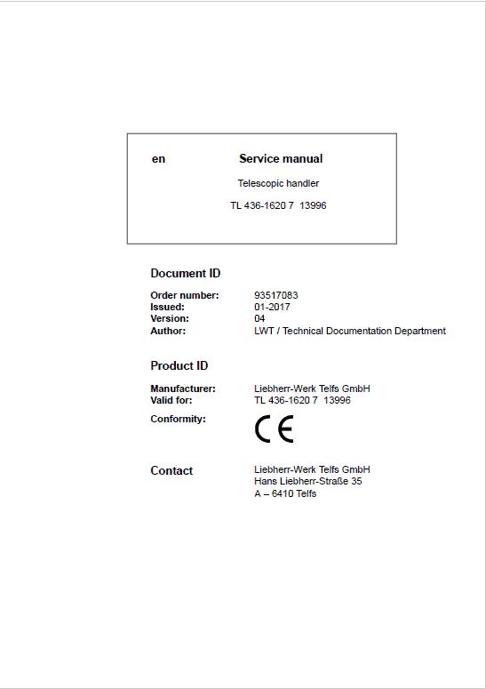 Liebherr TL436 Type 1620 Telescopic Handler Service Manual